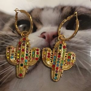 Zara Gold And Jewel Encrusted Cactus Earrings